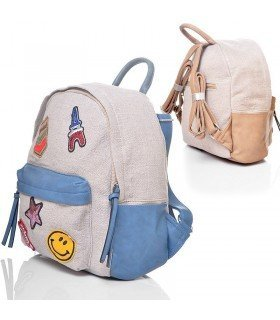 Backpack Linen With Patches