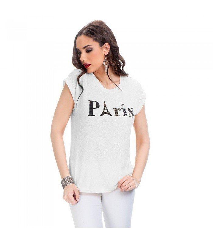 Camiseta Hilos Brillantes Manga Corta PARIS Con Piedras