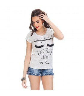 Camiseta Estampada Letras Con Piedras Con Cremallera Decorativa