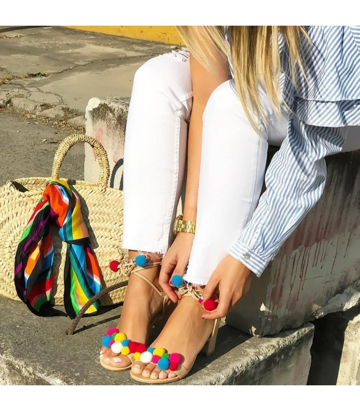 Sandal Spiked with pom-Poms of Color