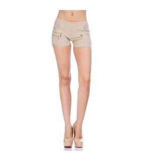 Pantalon Short Con Bolsillos Y Cremalleras Decorativas