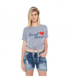 T-Shirt Stripes Knot Front