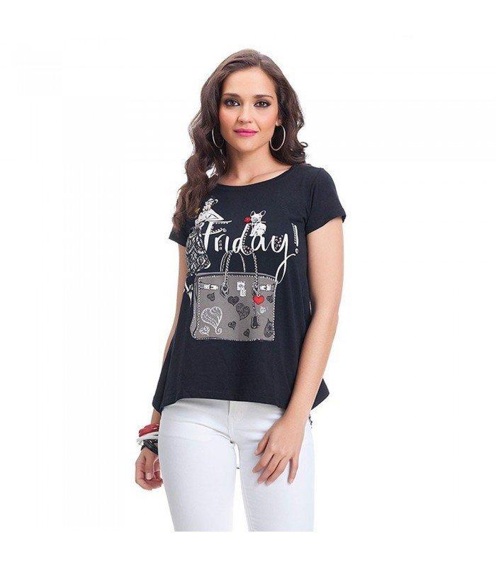 Camiseta  Estampada Manga Corta con Piedras Espalda Gasa Con Strass