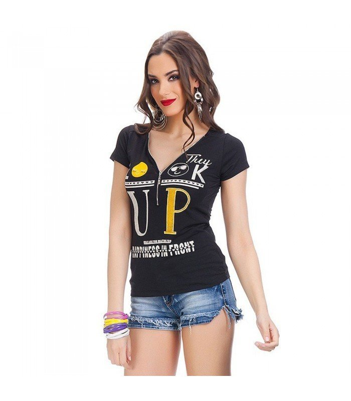 Camiseta Manga Corta UP Con Cremallera Delantera