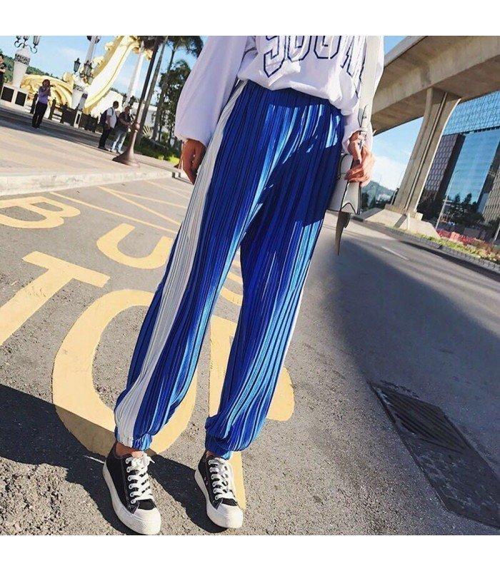 Pantalon Bicolor Largo Plisado