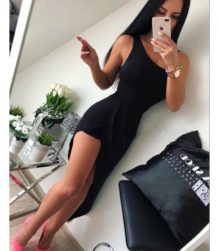 Vestido Licra Un Hombro Falda Asimetrica