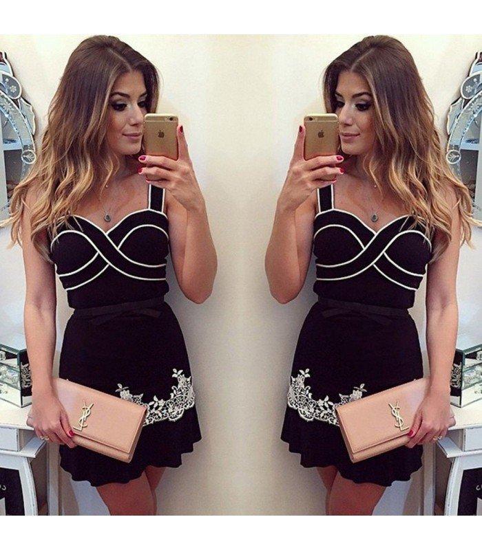 Vestido Elegante Falda Volante