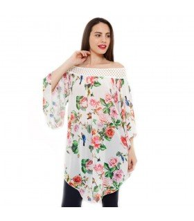 Top Chiffon Flower Boat Neck Sleeves Bells