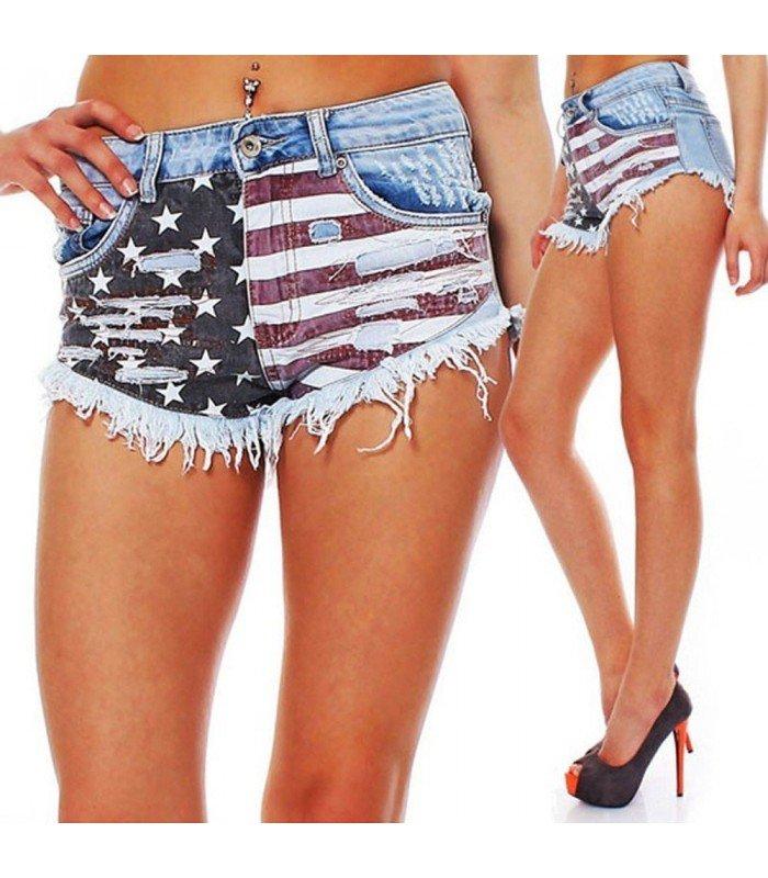 Vaquero Cortos Push Up Bandera Americana