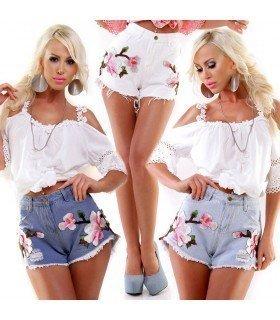 Short Jeans Cintura Alta com Manchas de Flores