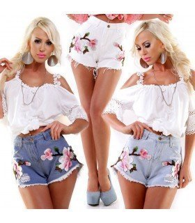 Short Jeans High Waist with Patch Flowers