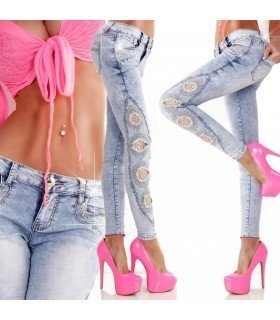 Jeans With Lace and Stones