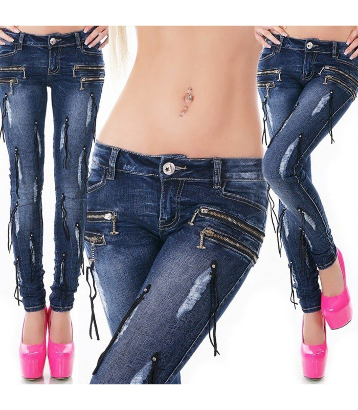 Jeanss With Zippers And Fringe