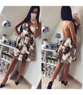 Vestido Estampado Falda Vuelo Espalda Descubierta