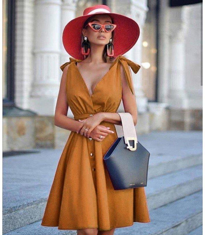 Vestido Falda Vuelo Botones