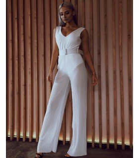 Jumpsuit With Long Belt Short Chiffon Pleated
