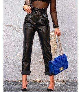 Pants imitation leather Waistband Shirred and Belt.