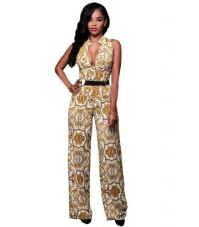 Jumpsuit Length without Sleeve Neckline Buttons with Belt