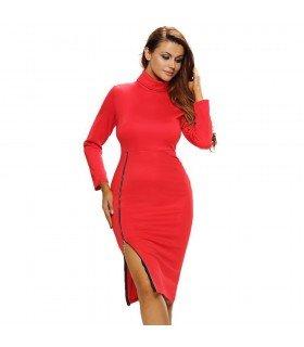 Casual Dress High Neck Skirt Zipper