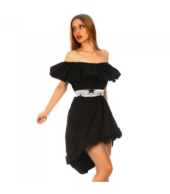 Dress In An Asymmetric Boat Neckline Frill
