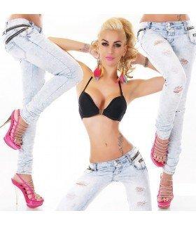Jeans Rasgados com Zíperes Decorativos