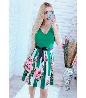 Vestido Com Estampa De Flores Mangas Sino