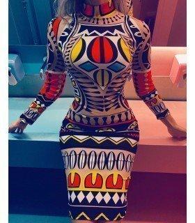 Vestido Estampado Tatu Manga Larga