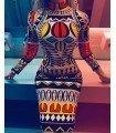 Vestido Estampado Tatu Manga Longa