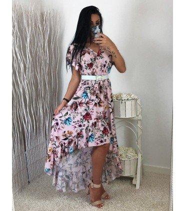 Vestido Estampado Flores Falda Asimetrica