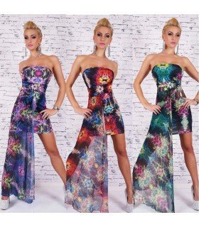 Print Dress With Chiffon