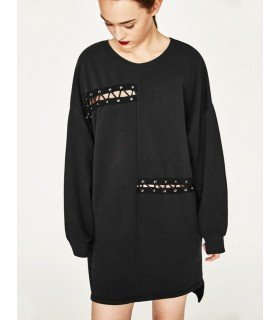 Sweatshirt Long With Lace-Up