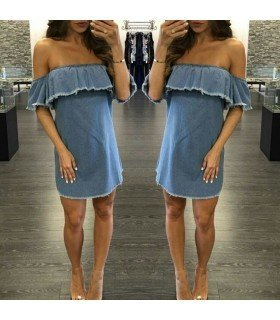 Dress Jeans Boat Neckline With Ruffle