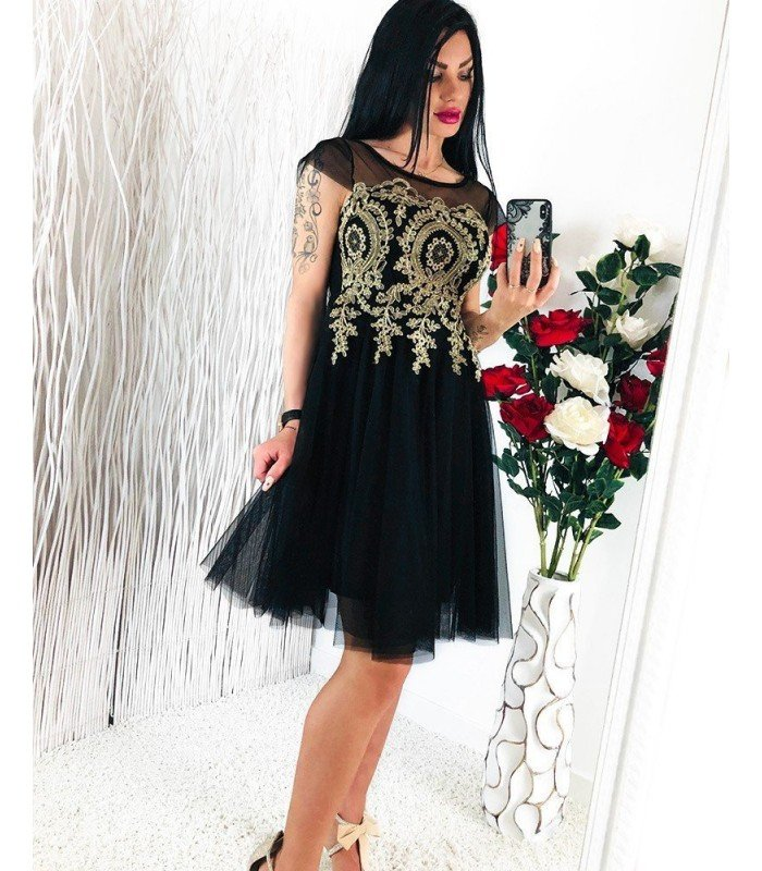 Dress Embroidered Lace With Tull