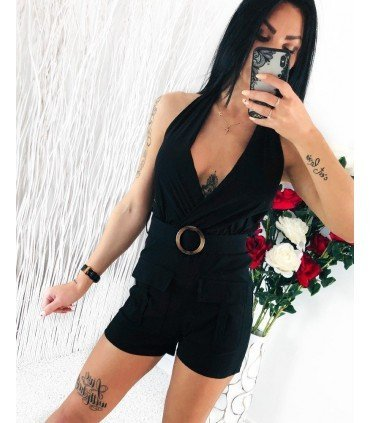 Jumpsuit Short open Back with Belt