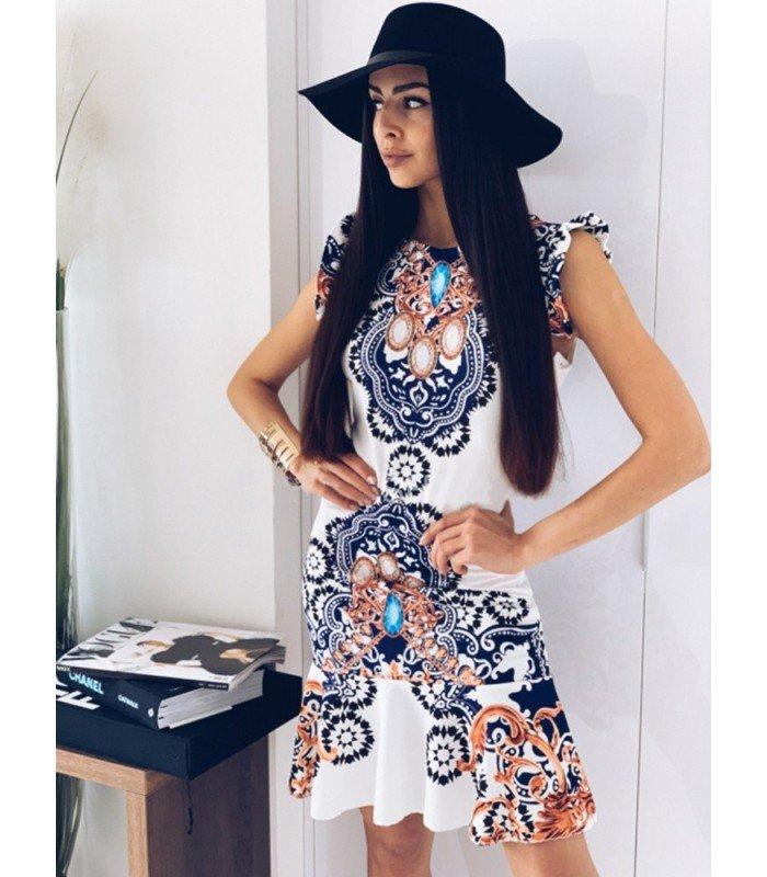 Print Dress Under Steering Wheel