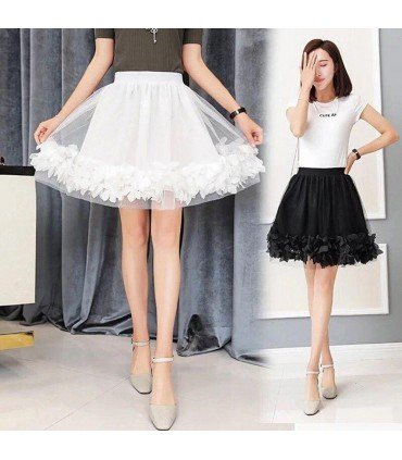 Skirt Flight Of Tulle With Petals
