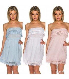 Dress Ruffle strapless with Ruffle