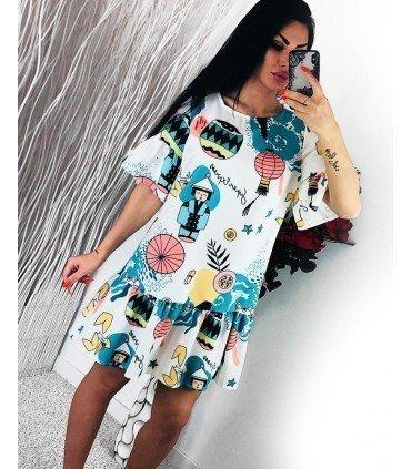 Print Dress Ruffles