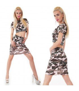 Set Top And Skirt Patterned Camouflage