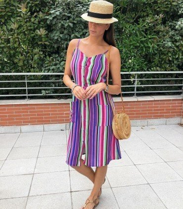 Dress Stripes Multicolor with Buttons and Pockets