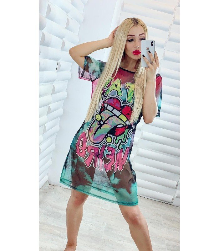 Dress With Body Tull Stamping