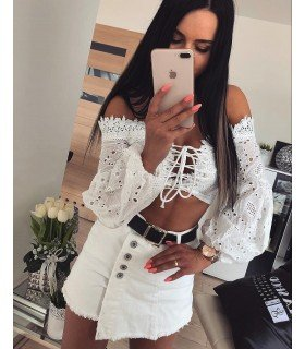 Top Short With Lace 3/4 Sleeves