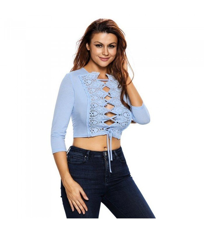 Top With Short Lace Long Sleeve