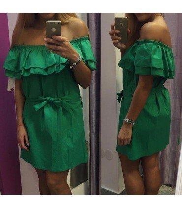 Short dress with Neck Ruffles with Belt
