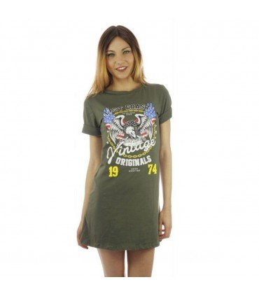 Dress Cotton Short Sleeve Print Eagle