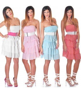 Gown strapless Ruffles with Belt