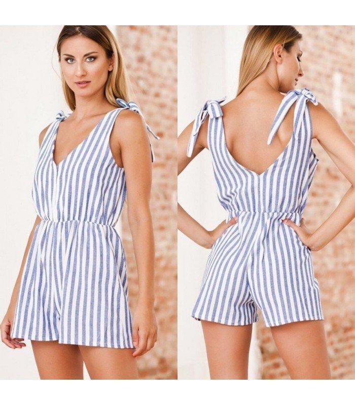 Jumpsuit Linen Stripes V-Neckline, Shoulders with Ties