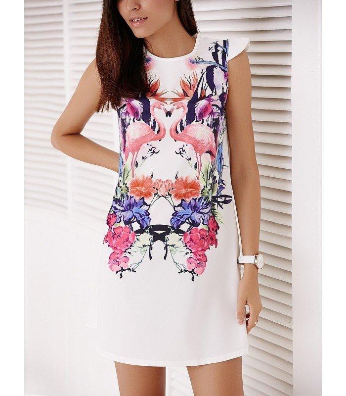 Short Dress In Patterned Flamingo