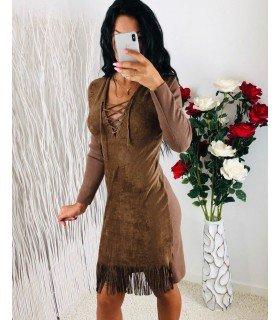 Dress Antelina Long Sleeve Skirt Fringes
