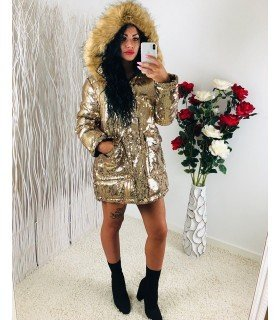 Parka Sequined Hooded Long Coat